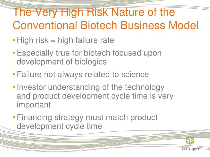 The Very High Risk Nature of the Conventional Biotech Business Model