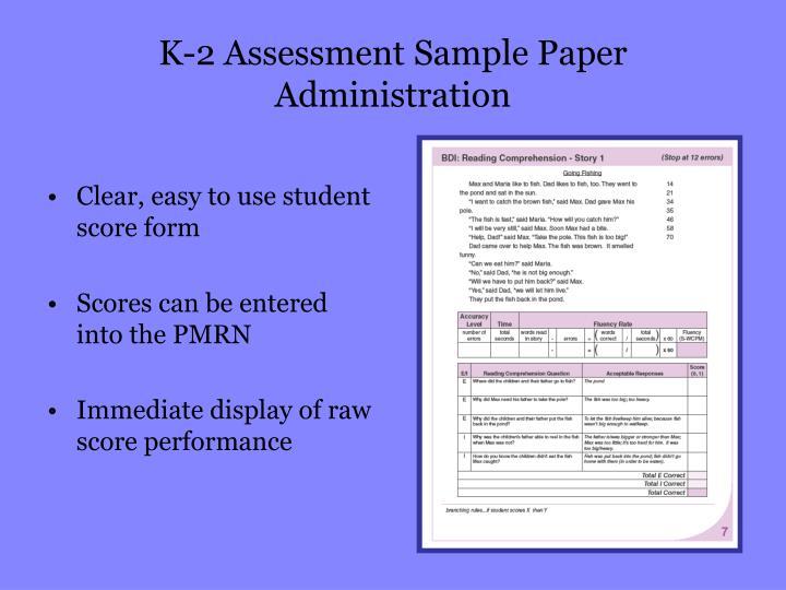 K-2 Assessment Sample Paper Administration