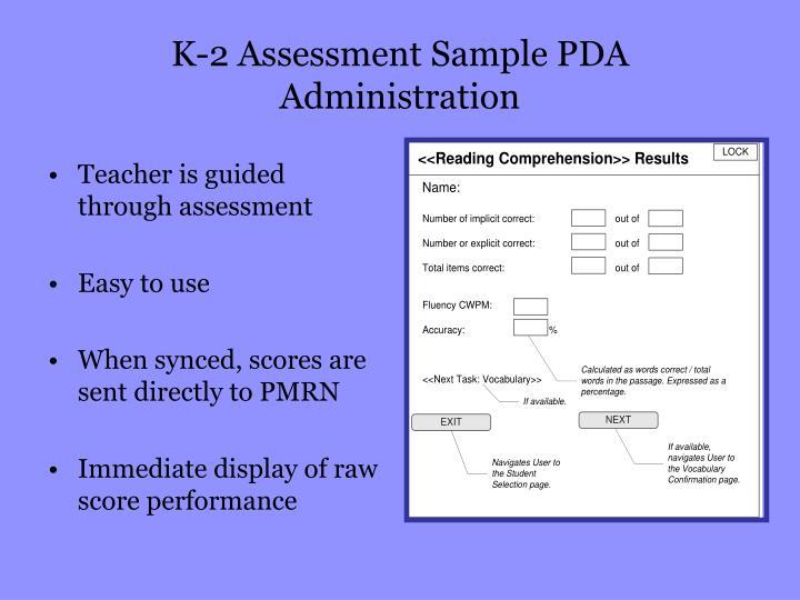 K-2 Assessment Sample PDA Administration