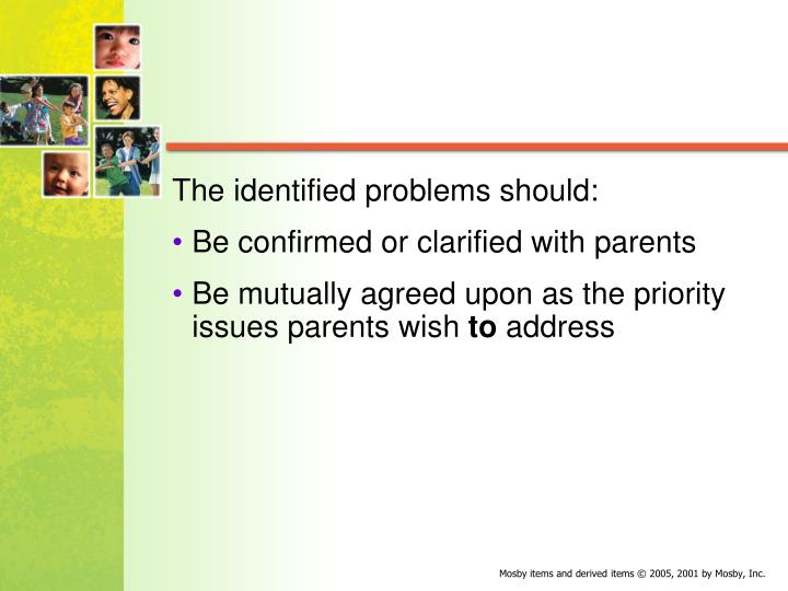 The identified problems should: