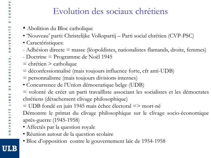 Evolution des sociaux chrétiens