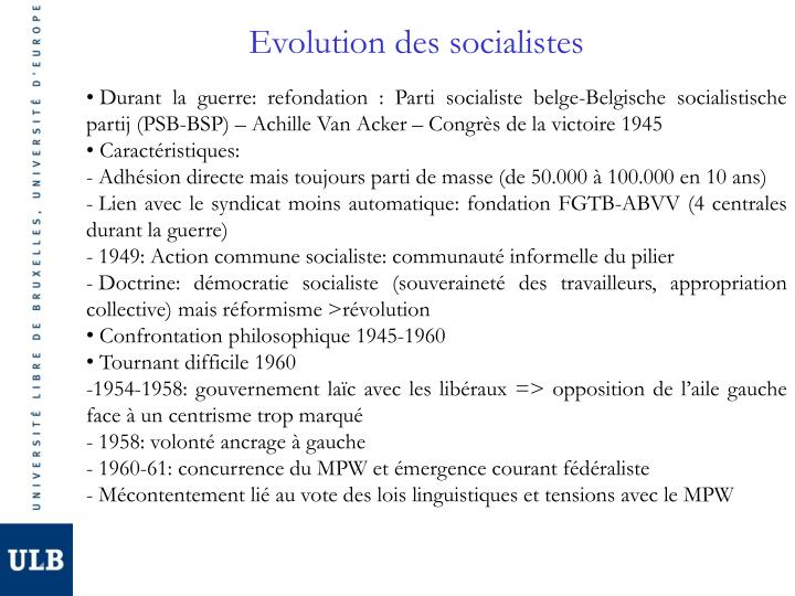 Evolution des socialistes