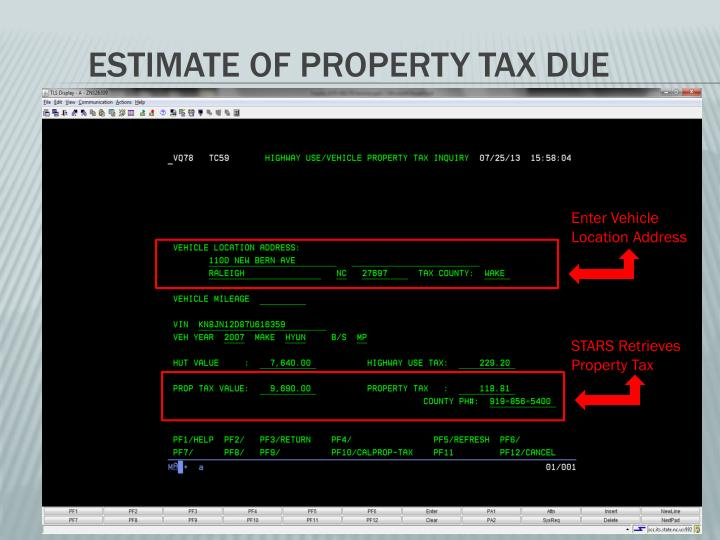 Estimate of Property tax due