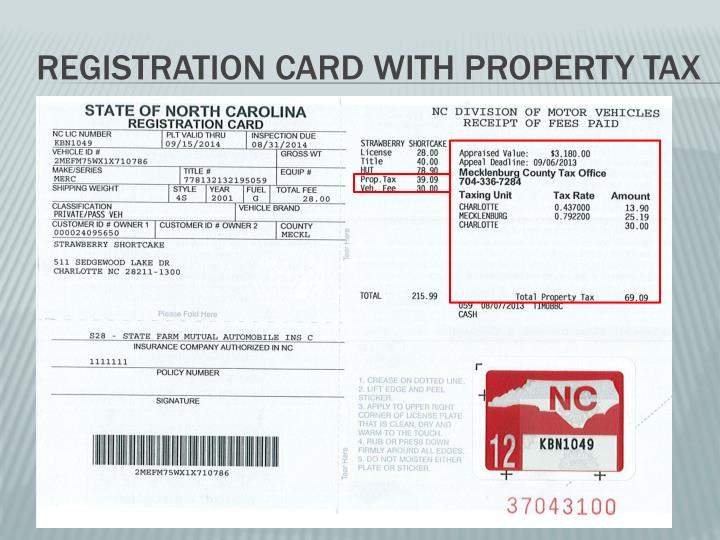 Registration Card with property tax