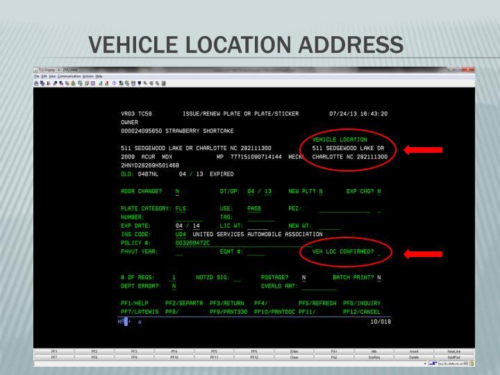 Vehicle Location Address