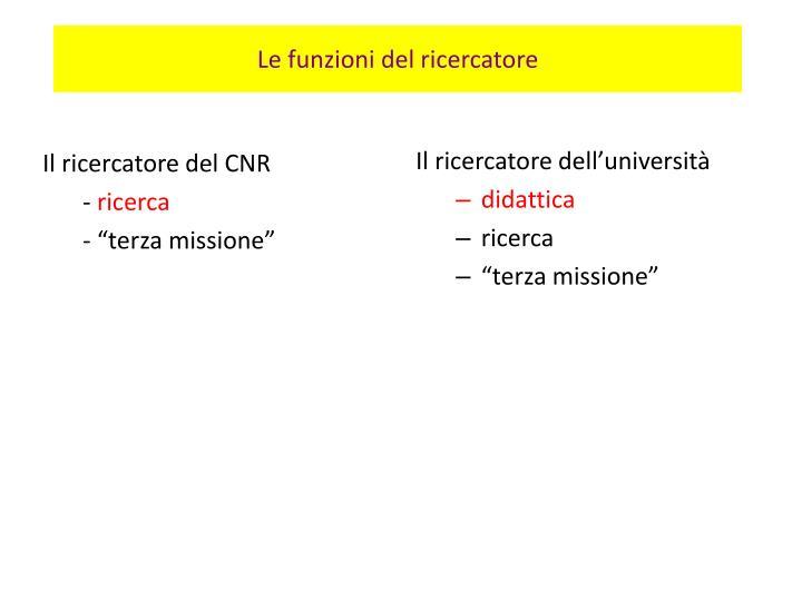 Le funzioni del ricercatore