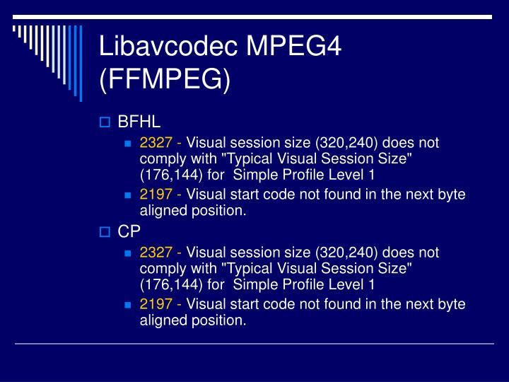 Libavcodec MPEG4 (FFMPEG)