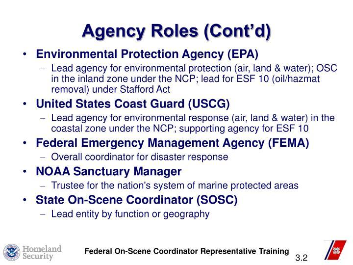 Agency Roles (Cont'd)