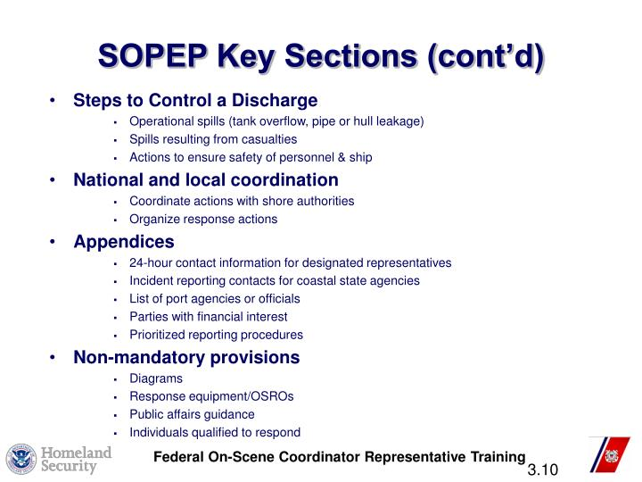 SOPEP Key Sections (cont'd)