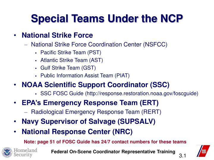 Special Teams Under the NCP