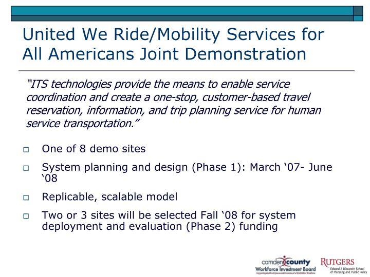 United we ride mobility services for all americans joint demonstration