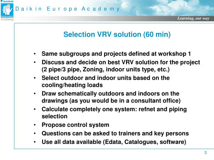 Selection VRV solution (60 min)