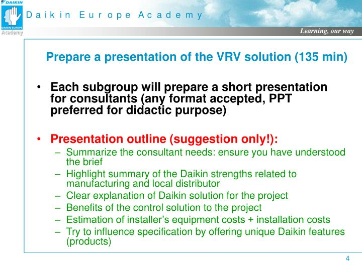 Prepare a presentation of the VRV solution (135 min)