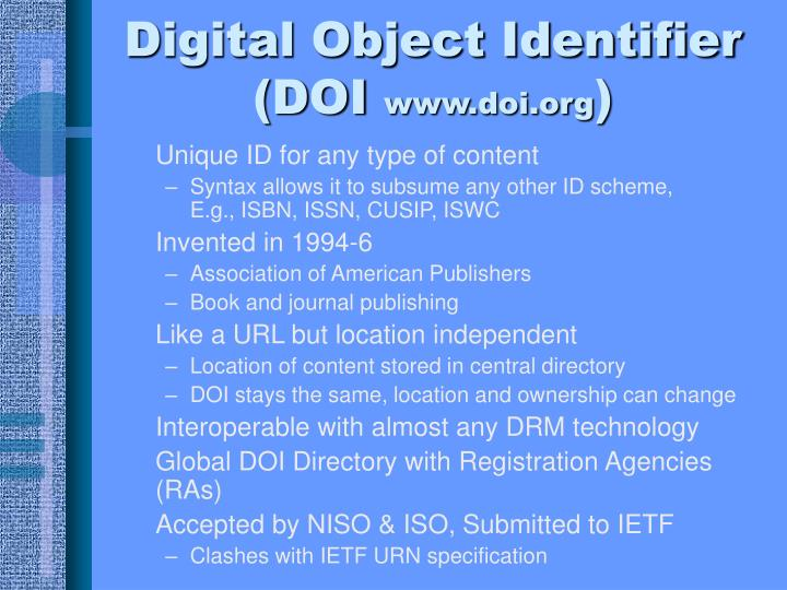 Digital Object Identifier (DOI