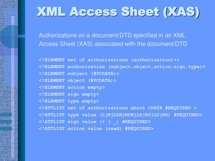 XML Access Sheet (XAS)