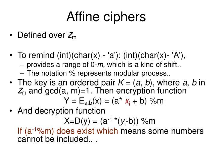 Affine ciphers