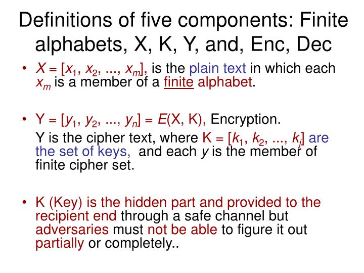 Definitions of five components: Finite alphabets, X, K, Y, and, Enc, Dec