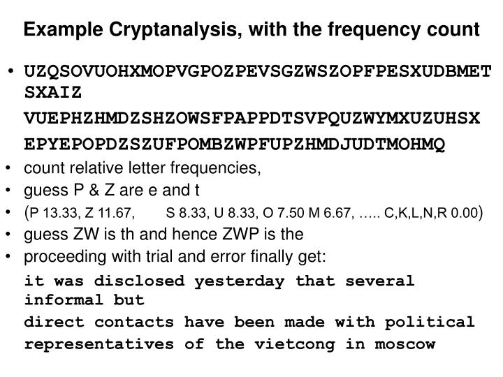 Example Cryptanalysis, with the frequency count