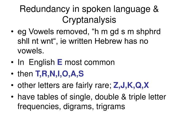 Redundancy in spoken language & Cryptanalysis