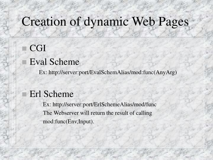 Creation of dynamic Web Pages