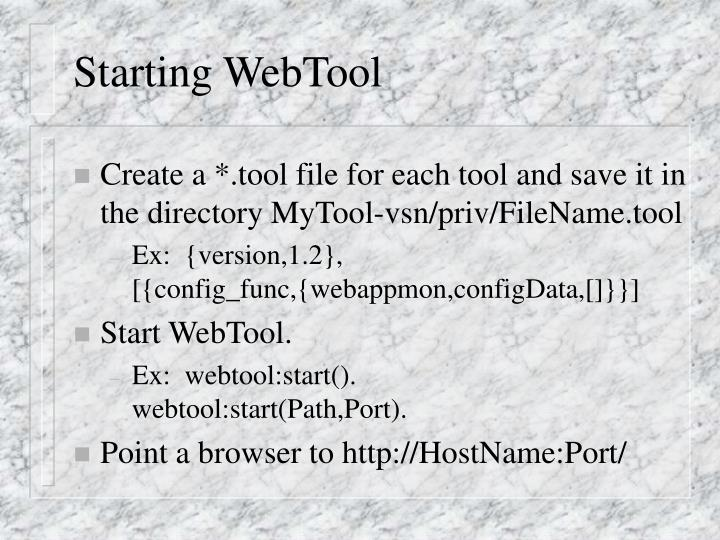 Starting WebTool