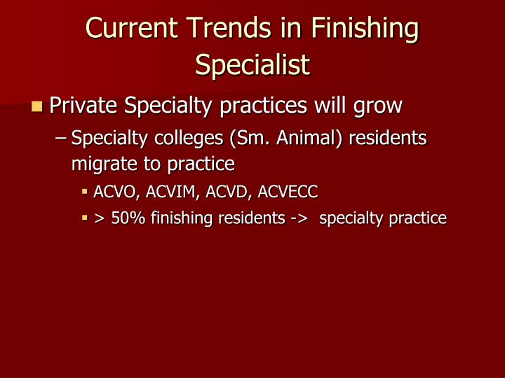 Current Trends in Finishing Specialist