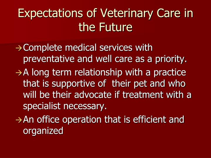 Expectations of veterinary care in the future
