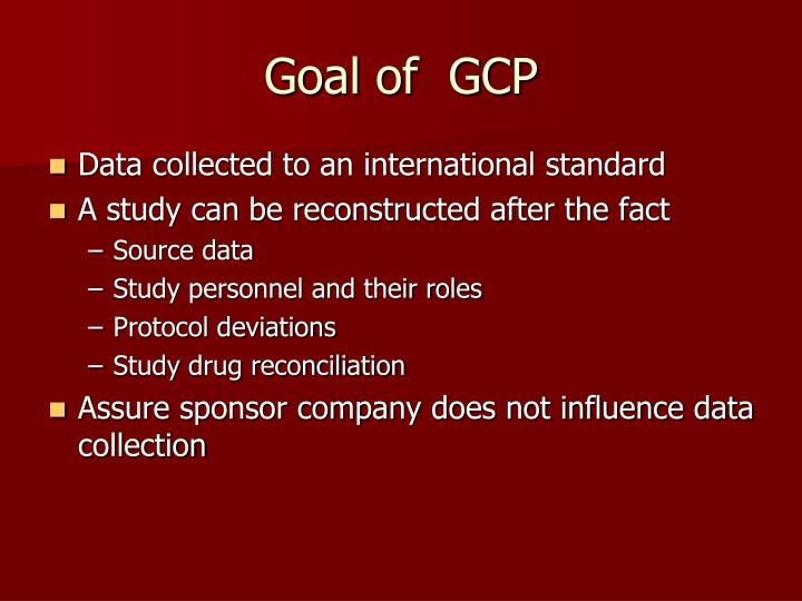 Goal of  GCP