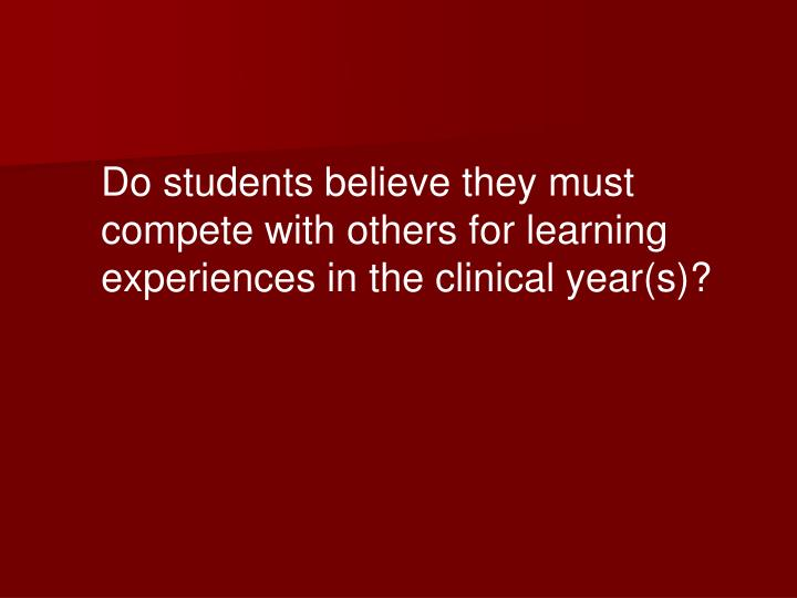 Do students believe they must