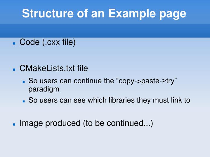 Structure of an Example page