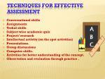 techniques for effective assessment