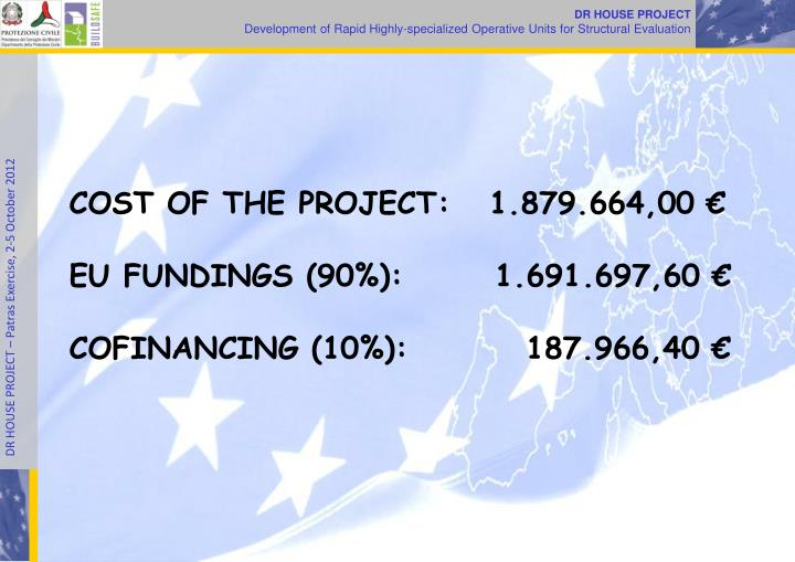 COST OF THE PROJECT:   1.879.664,00 €