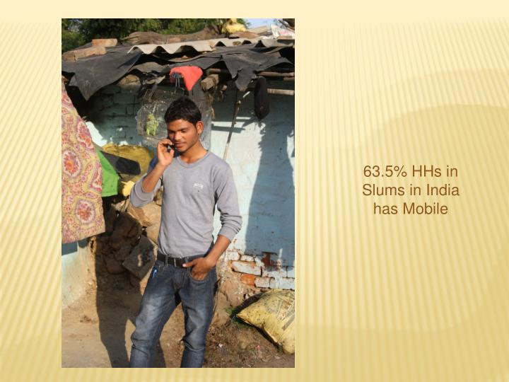 63.5% HHs in Slums in India has Mobile