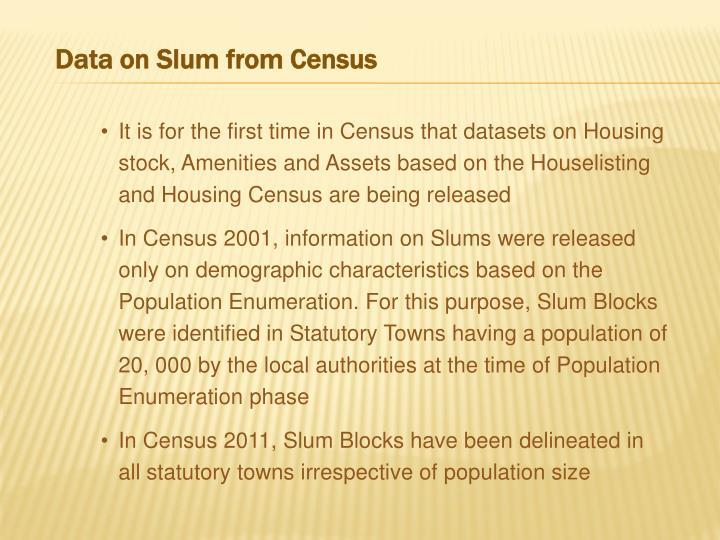 Data on Slum from Census