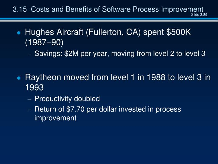 3.15  Costs and Benefits of Software Process Improvement