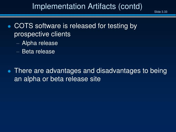 Implementation Artifacts (contd)