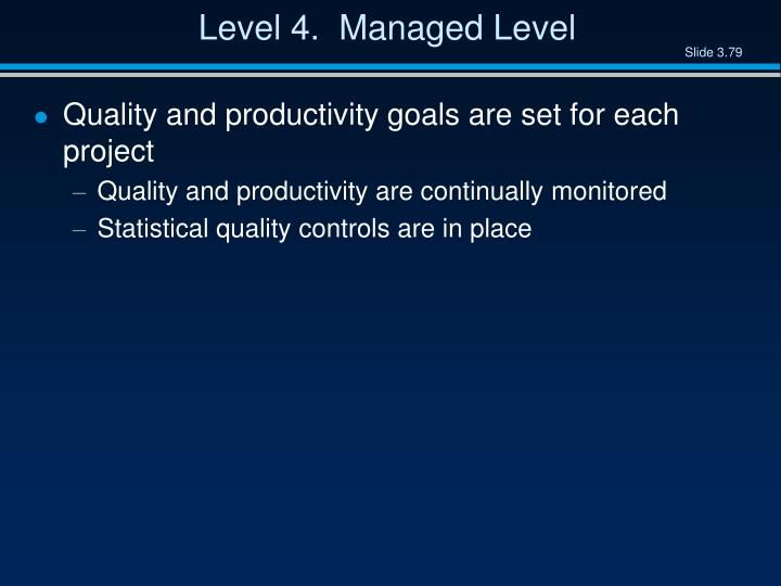 Level 4.  Managed Level