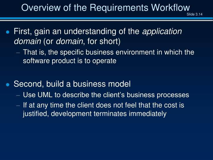 Overview of the Requirements Workflow