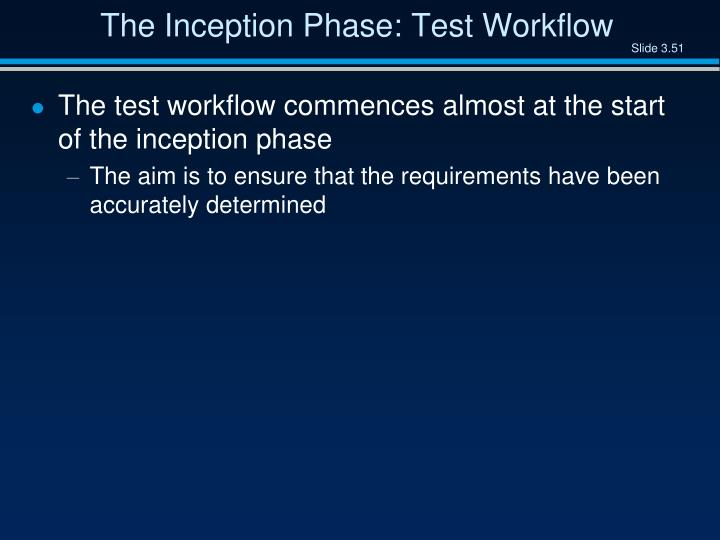The Inception Phase: Test Workflow