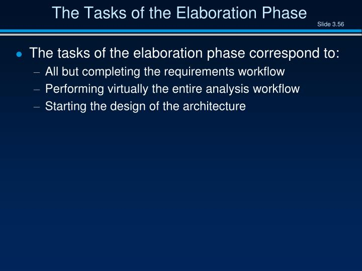 The Tasks of the Elaboration Phase