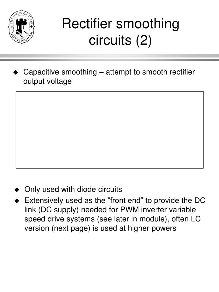 Rectifier smoothing circuits 2