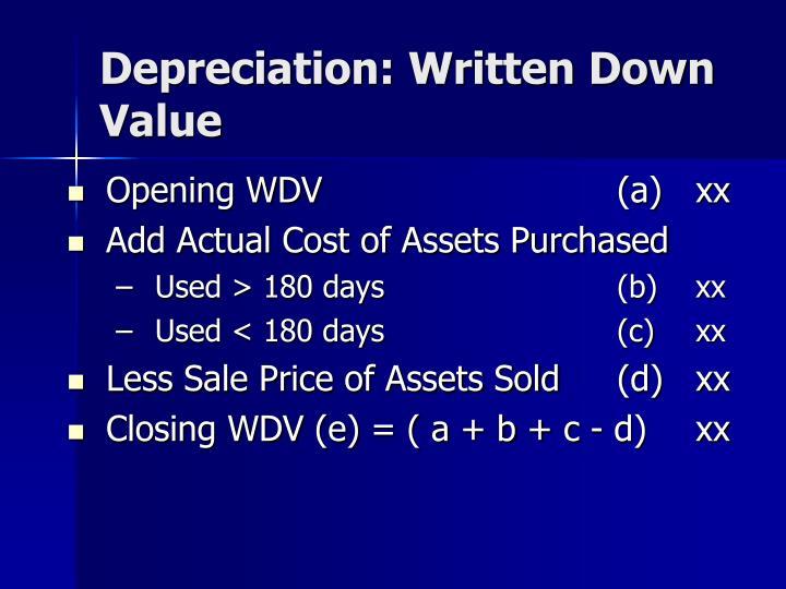 Depreciation: Written Down Value
