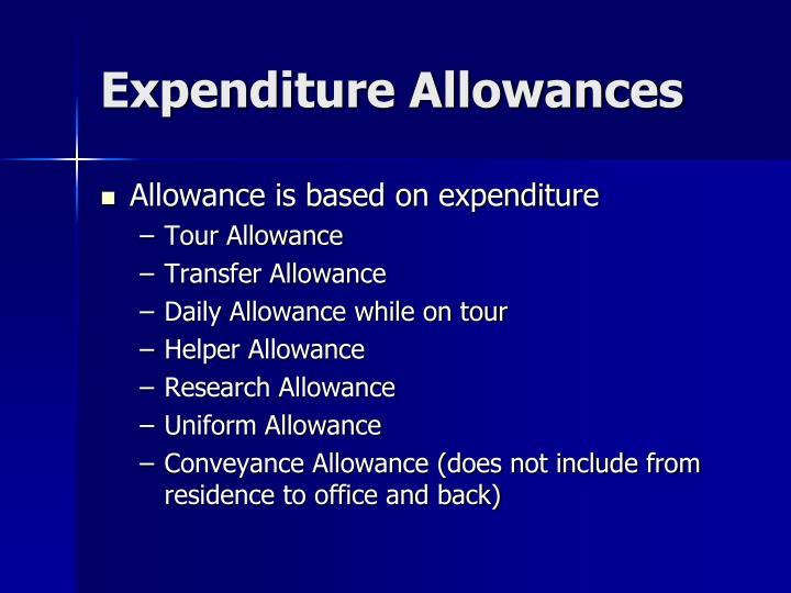 Expenditure Allowances
