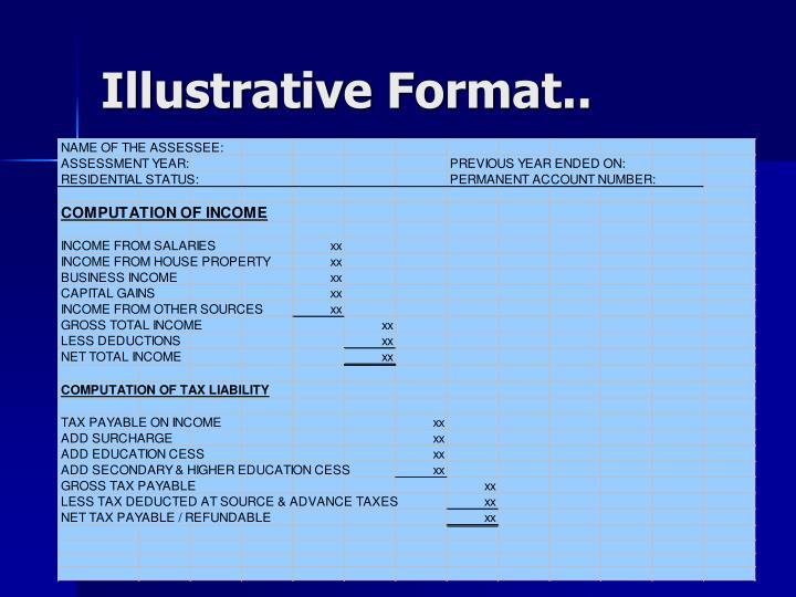 Illustrative Format..