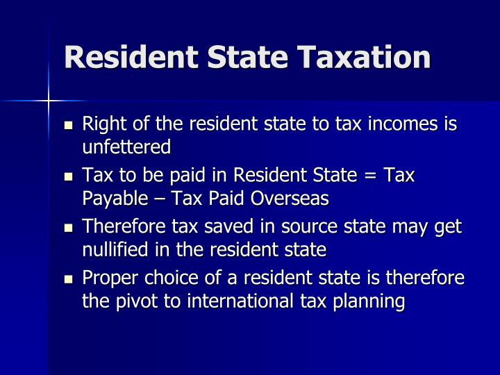 Resident State Taxation