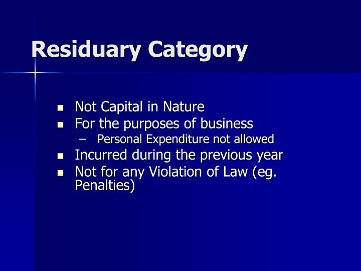 Residuary Category