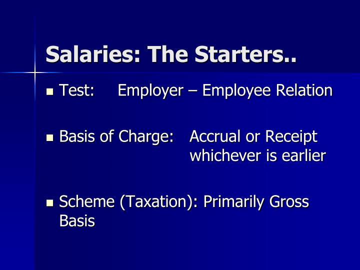 Salaries: The Starters..