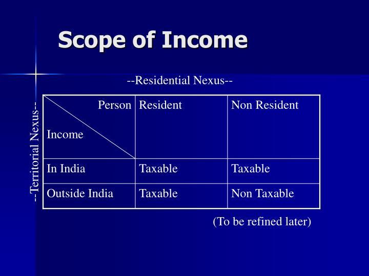Scope of Income