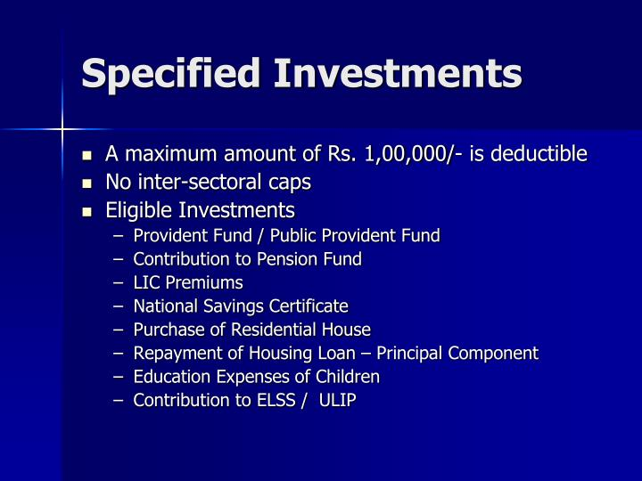 Specified Investments