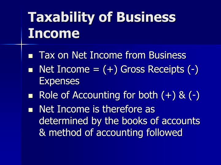 Taxability of Business Income